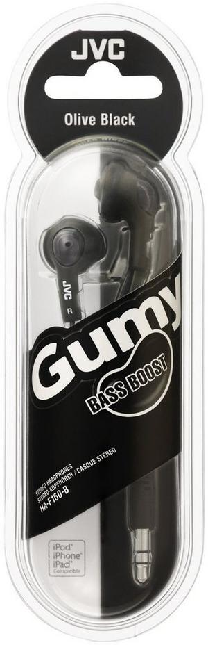 JVC HA-F160-B Gummy In-Ear Headphones For iPhone iPod & Laptop Black Thumbnail 2