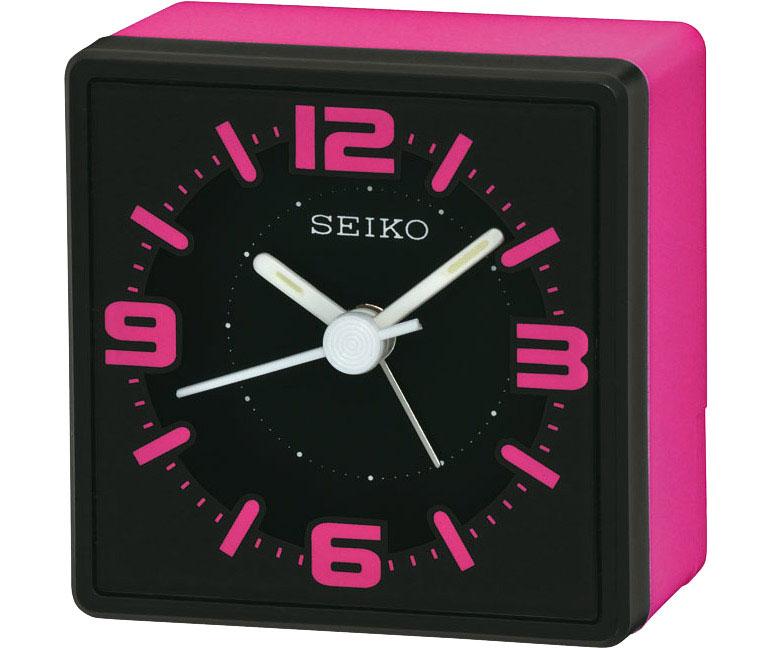 seiko analog nachttisch wecker pink qhe091p ebay. Black Bedroom Furniture Sets. Home Design Ideas