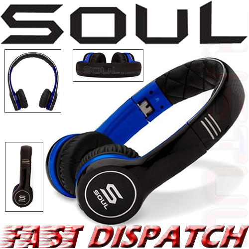 Soul by Ludicris SL100UB Ultra Dynamic On-Ear Headphones Black Blue Brand New