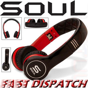 Soul by Ludicris SL100RB Ultra Dynamic On-Ear Headphones Black Red Brand New Thumbnail 1