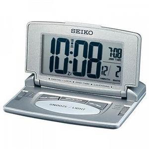 Seiko LCD Travel & Desk Alarm Clock with Dual Time Calendar Grey Silver QHL021N Thumbnail 1