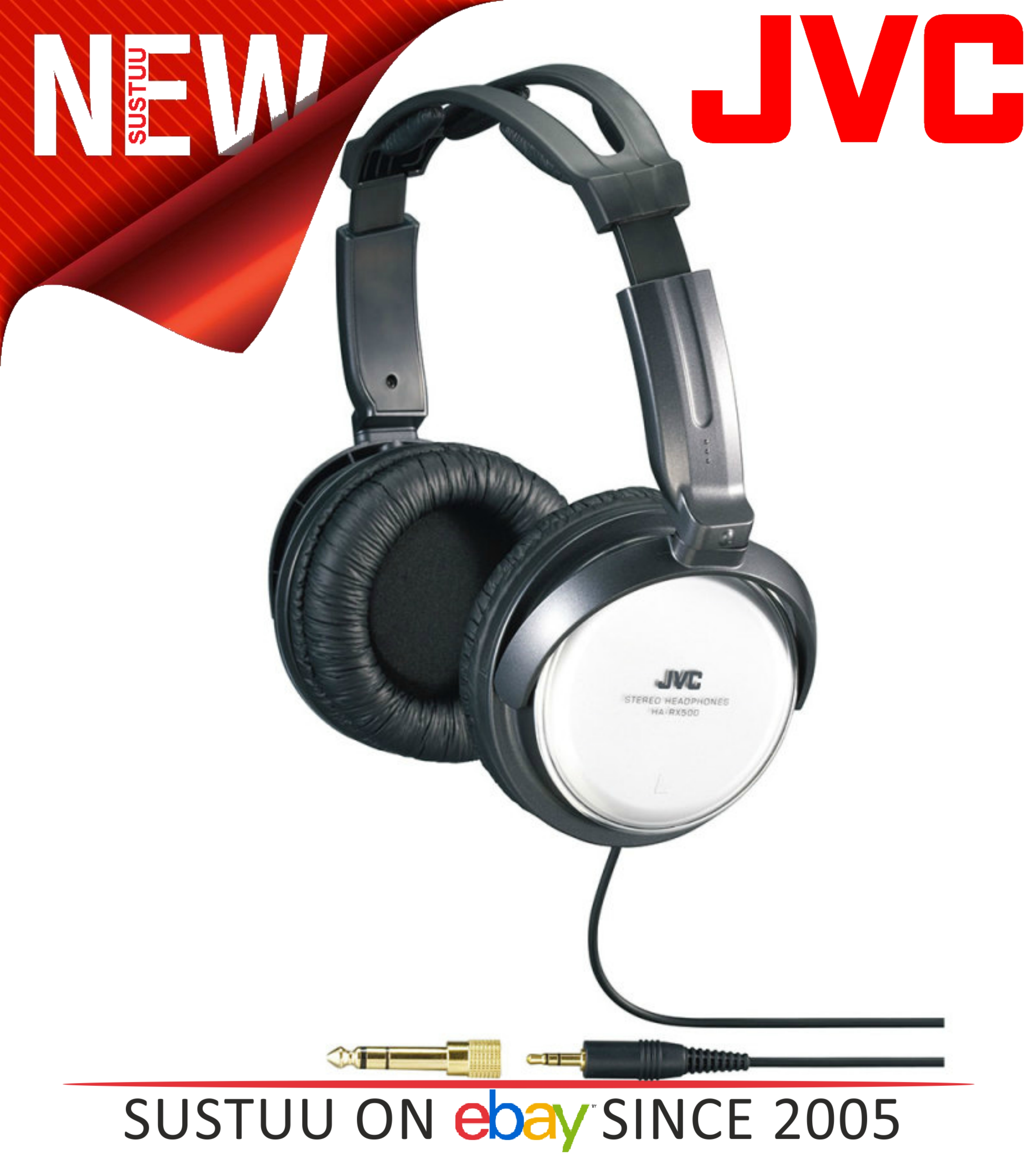 JVC HA-RX500 Silver Full Size High Quality Extra Bass Stereo Overhead Headphones