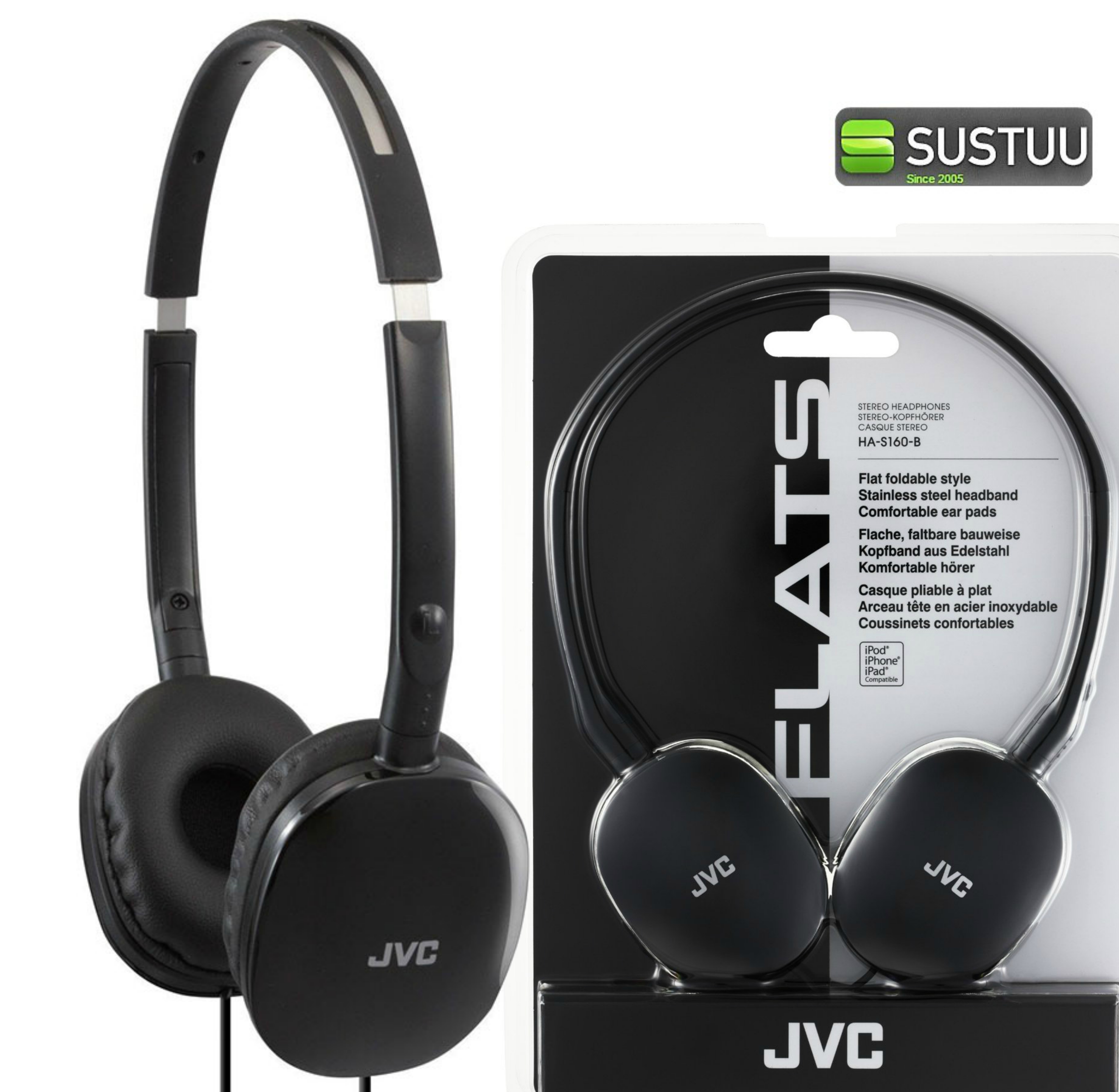 JVC HAS160 Flats Foldable Stereo Earphones for iPhone MP3 Player Deep Bass Black