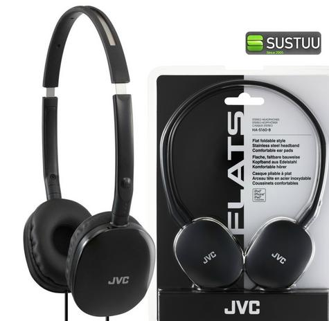JVC HAS160 Flats Foldable Stereo Earphones for iPhone MP3 Player Deep Bass Black Thumbnail 1