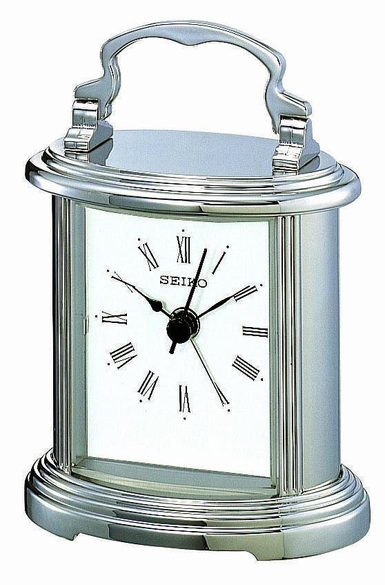 Seiko Silver Mantel Clock QHE109S