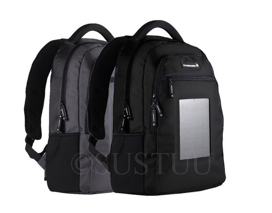 "Crosskase Solar Powered Black Grey 15"" Laptop Backpack &amp ..."