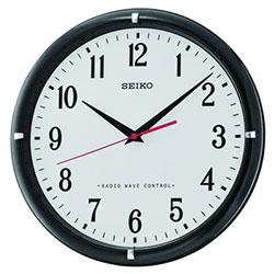seiko horloge mural analogique noir blanc qxr302k ebay. Black Bedroom Furniture Sets. Home Design Ideas