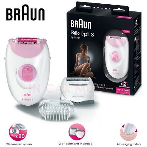 Braun Silk-Epil 3 Leg & Body Epilator & Shaver Ladies Hair Remover  Thumbnail 1