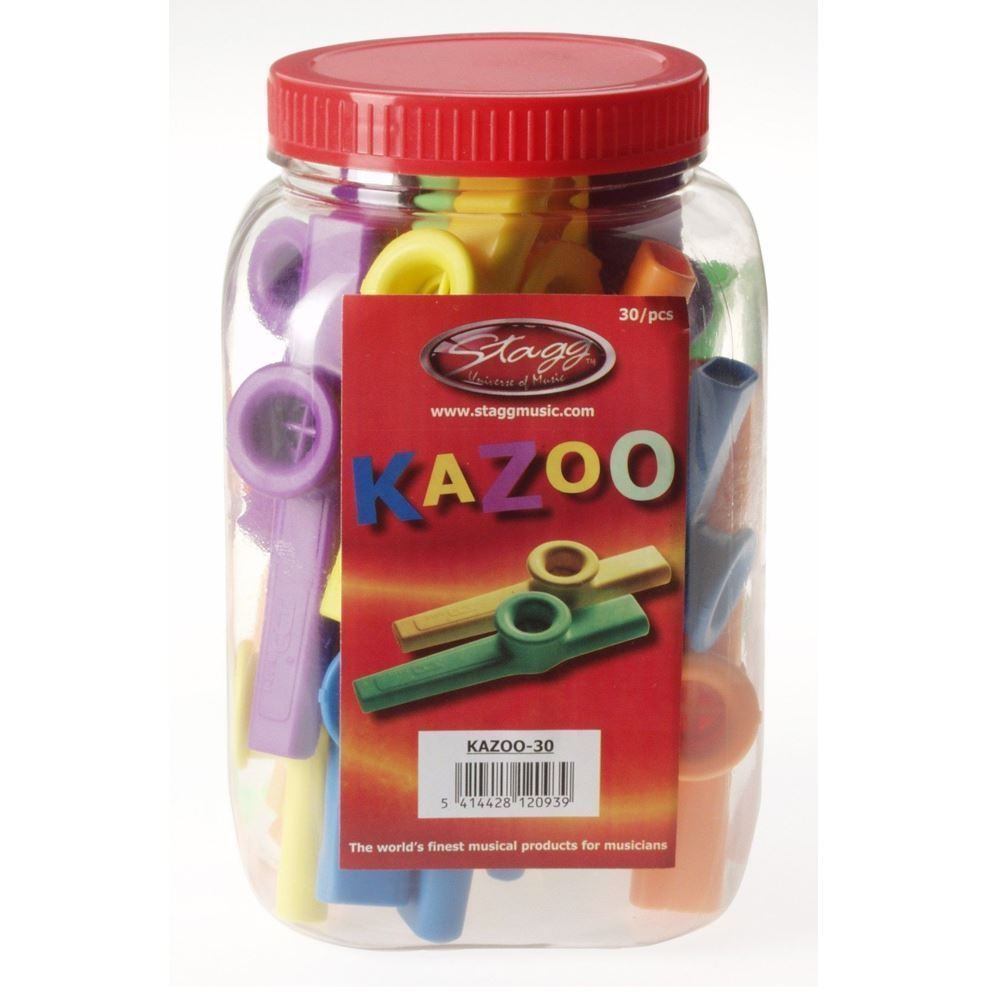 Stagg Tub Plastic Kazoo Suitable for Ages 3+ Assorted Colours - Pack of 30 Music