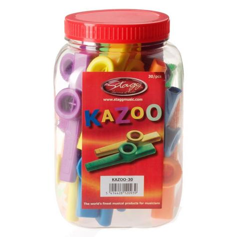 Stagg Tub Plastic Kazoo Suitable for Ages 3+ Assorted Colours - Pack of 30 Music Thumbnail 1