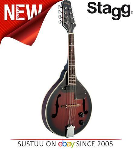 Stagg Adjustable Redburst Electro-Acoustic Bluegrass Mandolin with Nato Top M50E Thumbnail 1