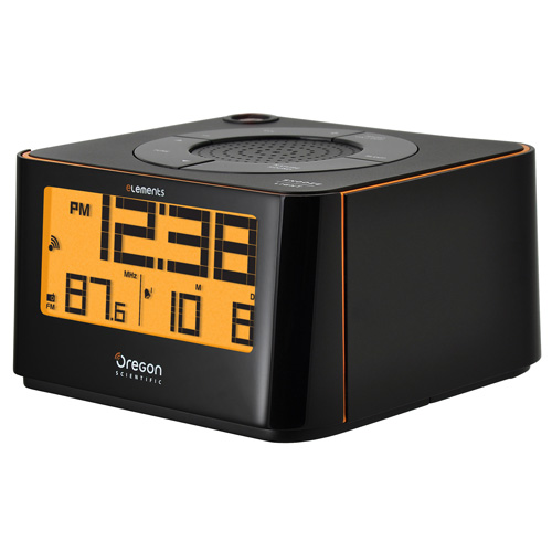oregon scientific projection alarm clock with radio and indoor temperature ew103. Black Bedroom Furniture Sets. Home Design Ideas
