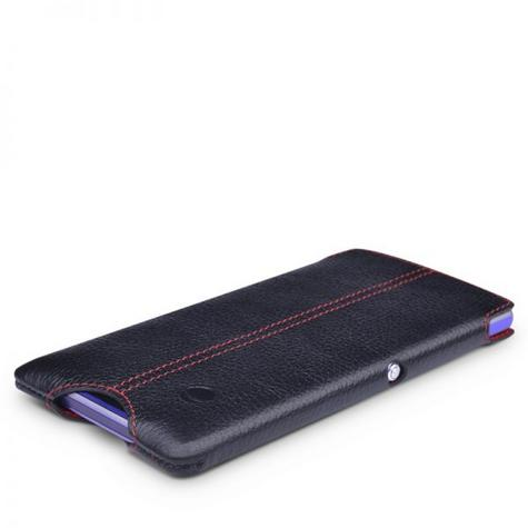 Beyzacases Zero Case for Sony Xperia E1 in Black Genuine Leather Worlds Thinnest Thumbnail 1