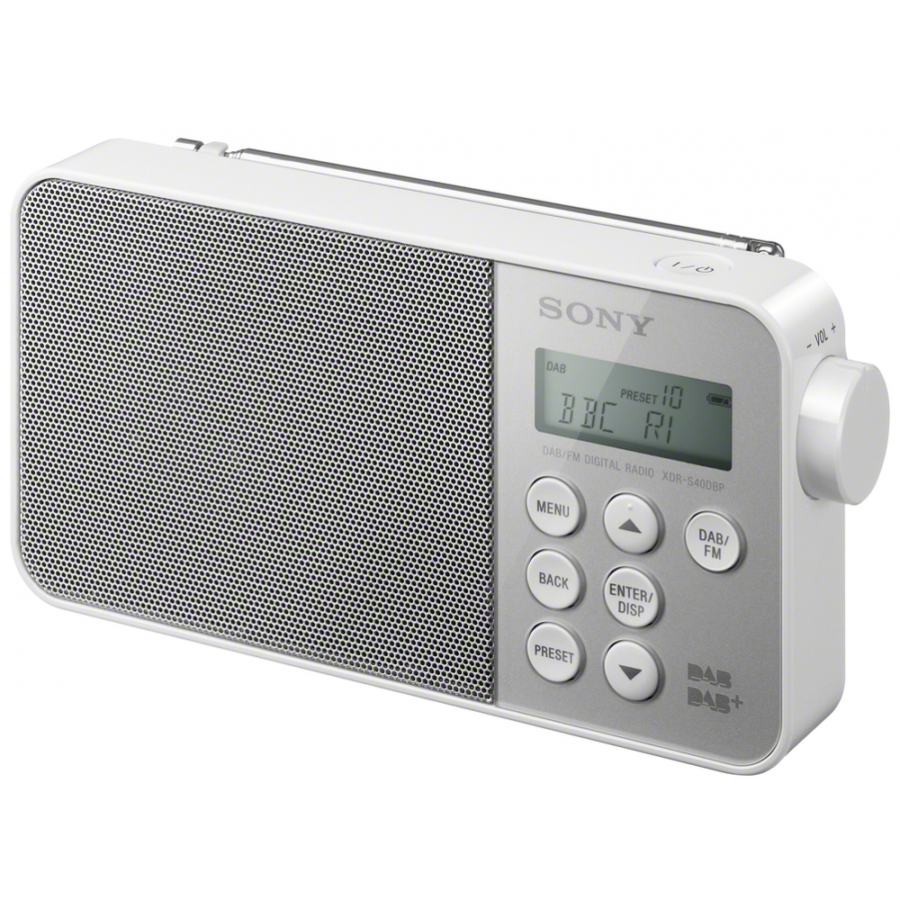 sony dab dab fm tuner portable travel white digital radio ac battery xdr s40dpb ebay. Black Bedroom Furniture Sets. Home Design Ideas