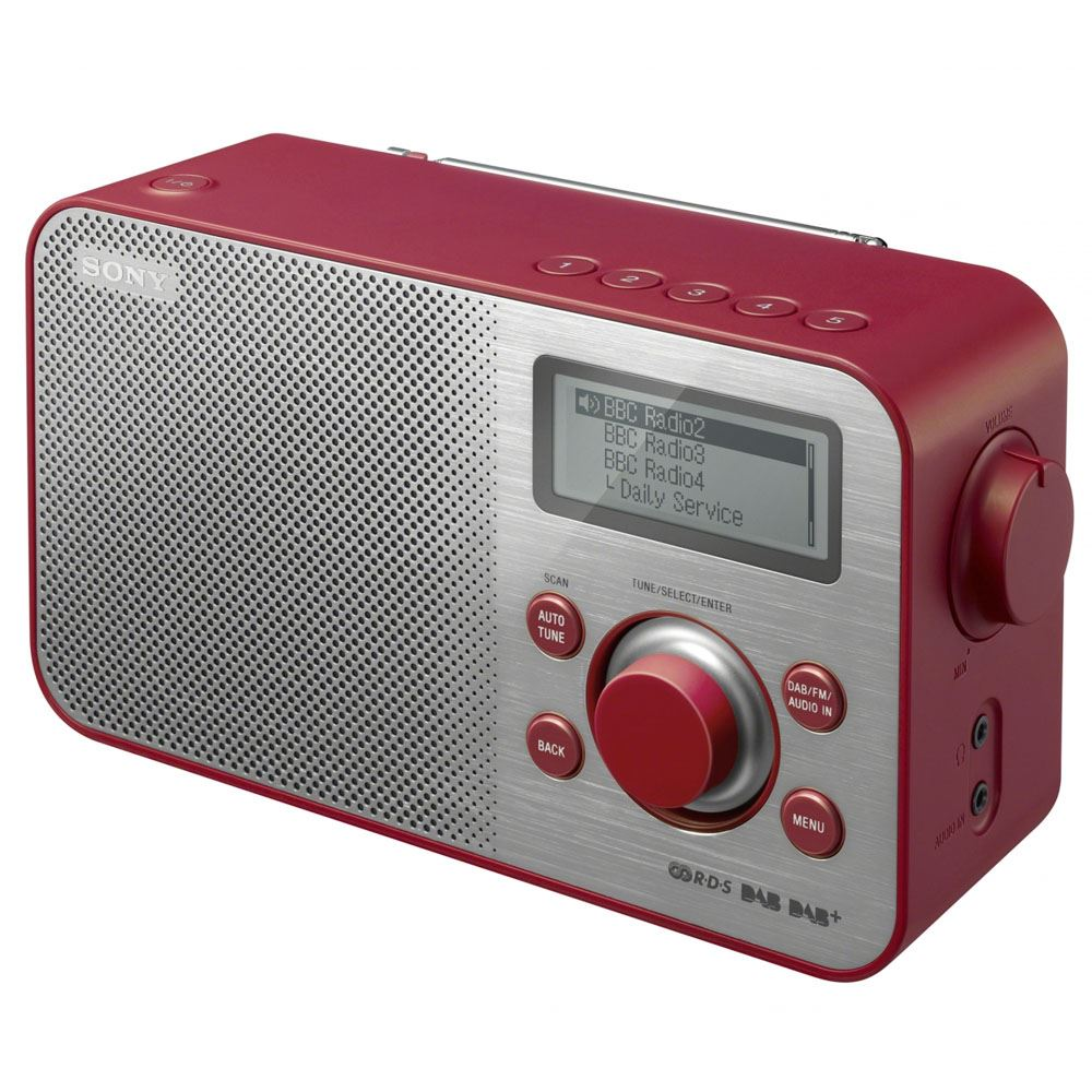 sony sony dab fm tuner portable radio radio xdr s60dbp red ebay. Black Bedroom Furniture Sets. Home Design Ideas
