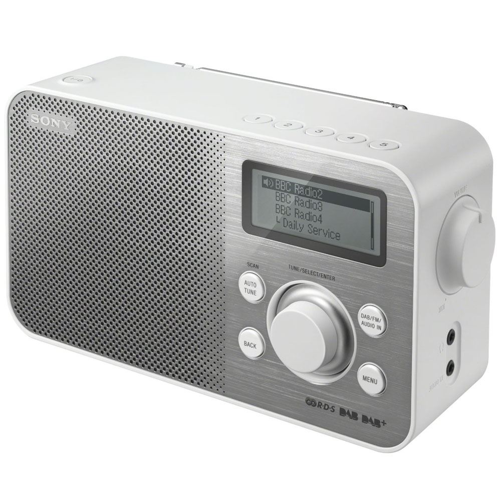 sony sony dab fm tuner portable radio radio xdr s60dbp white. Black Bedroom Furniture Sets. Home Design Ideas