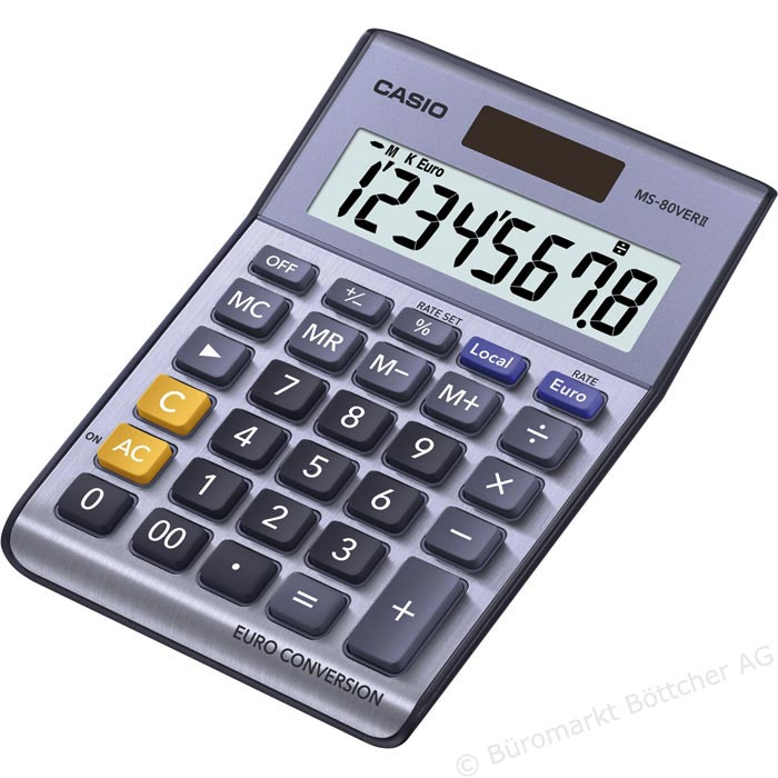 Casio Desk Calculator & Converter with Euro Currency Conversion & Solar Power