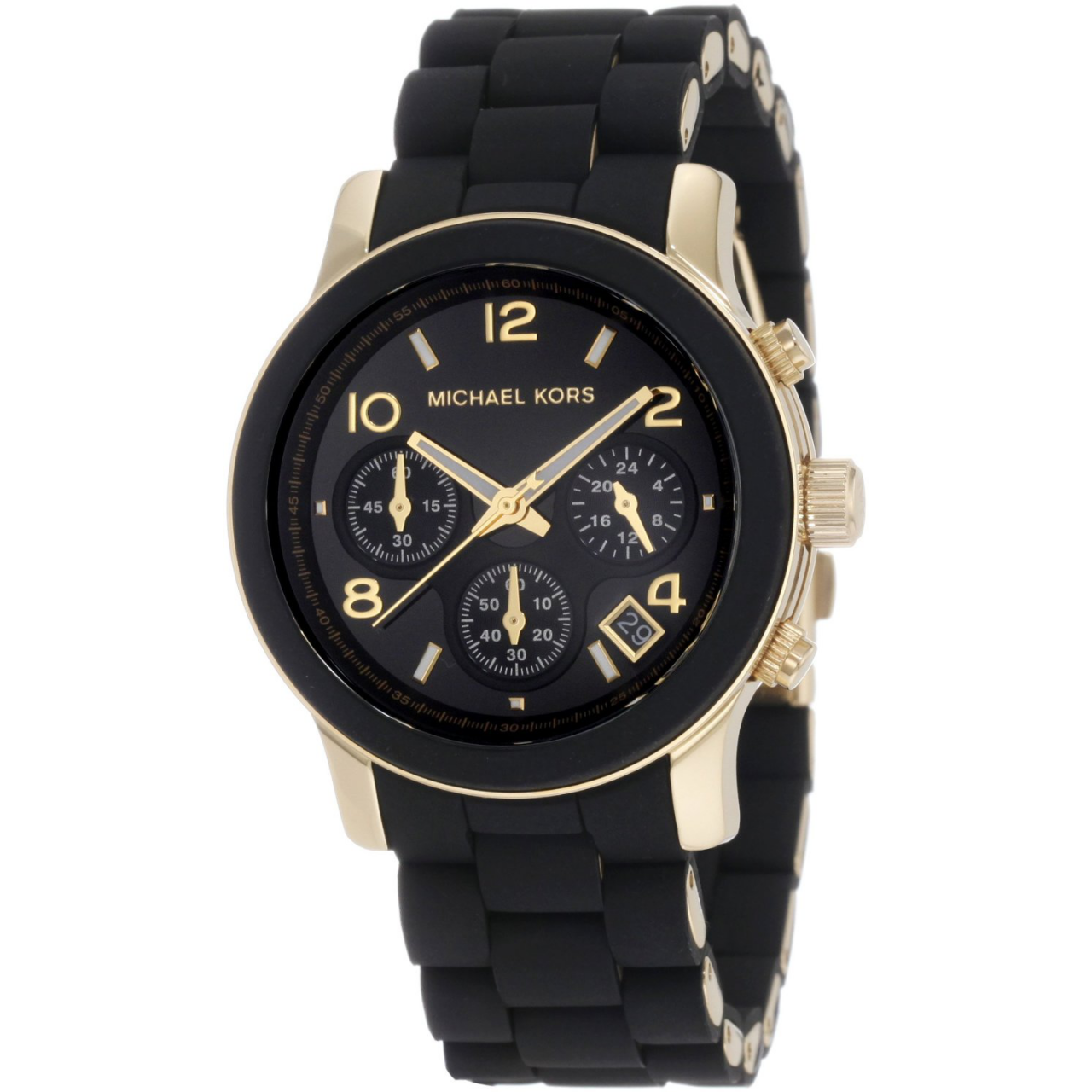 michael kors ladies runway chronograph black gold bracelet watch mk5191. Black Bedroom Furniture Sets. Home Design Ideas