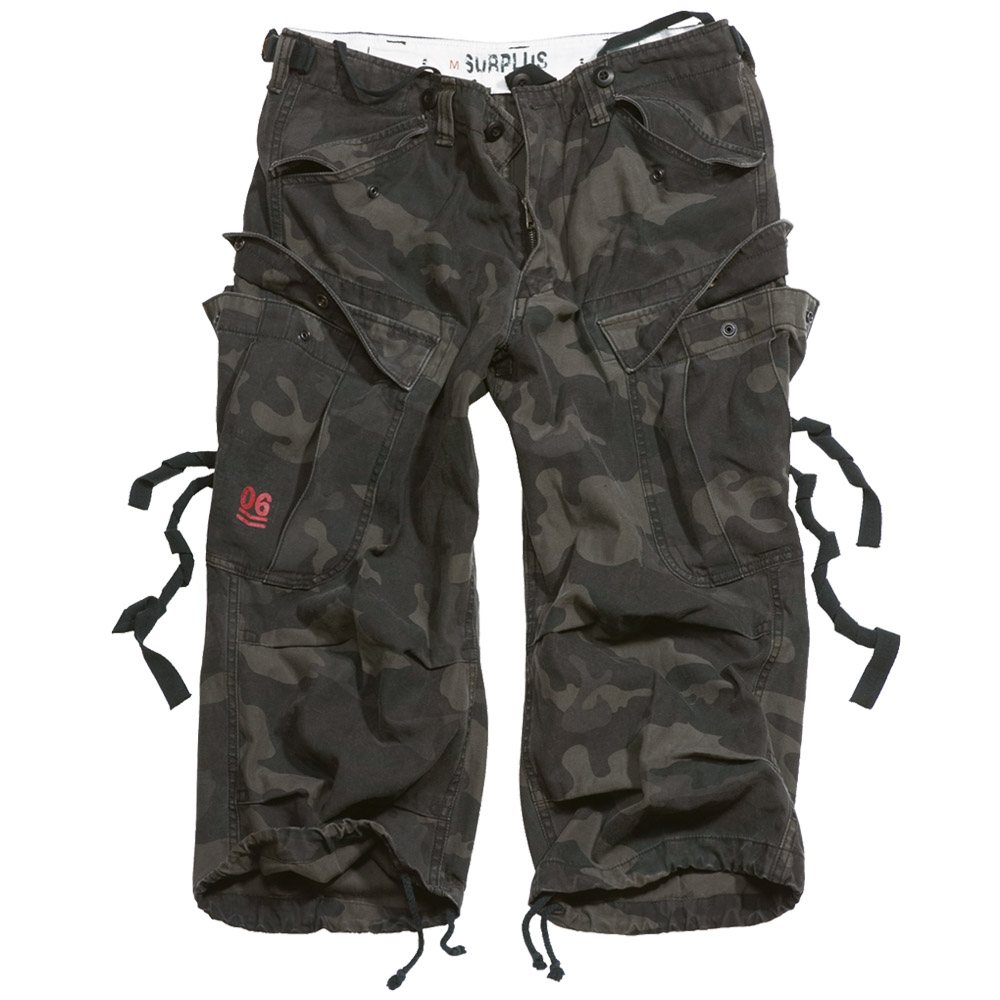 SURPLUS-ENGINEER-ARMY-VINTAGE-STYLE-3-4-MENS-COMBAT-LONG-CARGO-SHORTS-BLACK-CAMO