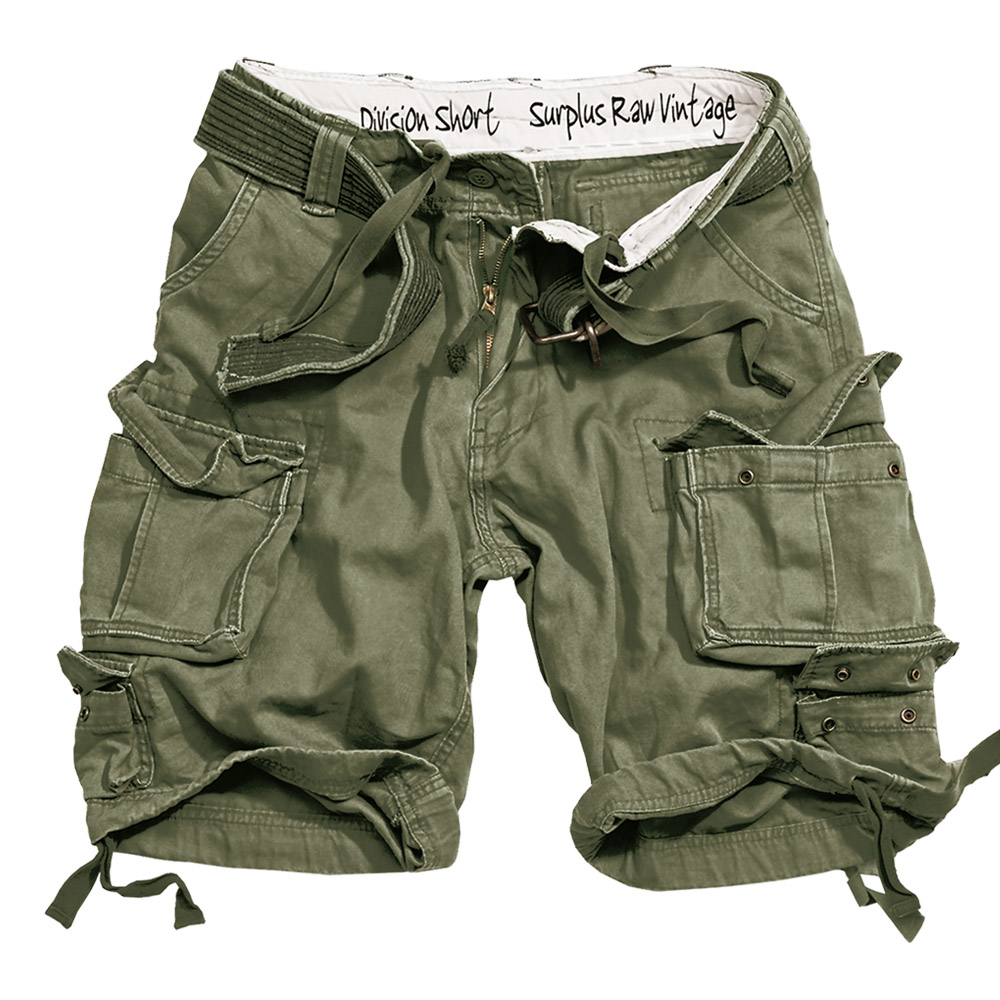 SURPLUS ARMY COMBAT DIVISION MENS CARGO SHORTS KNEE LENGTH + BELT OLIVE OD