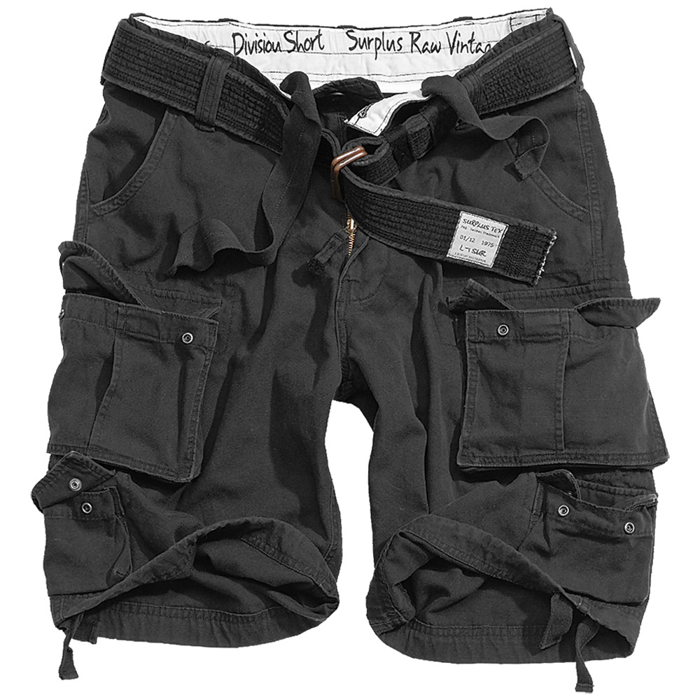 SURPLUS-MILITARY-ARMY-STYLE-DIVISION-MENS-CARGO-COMBAT-SHORTS-BELT-BLACK