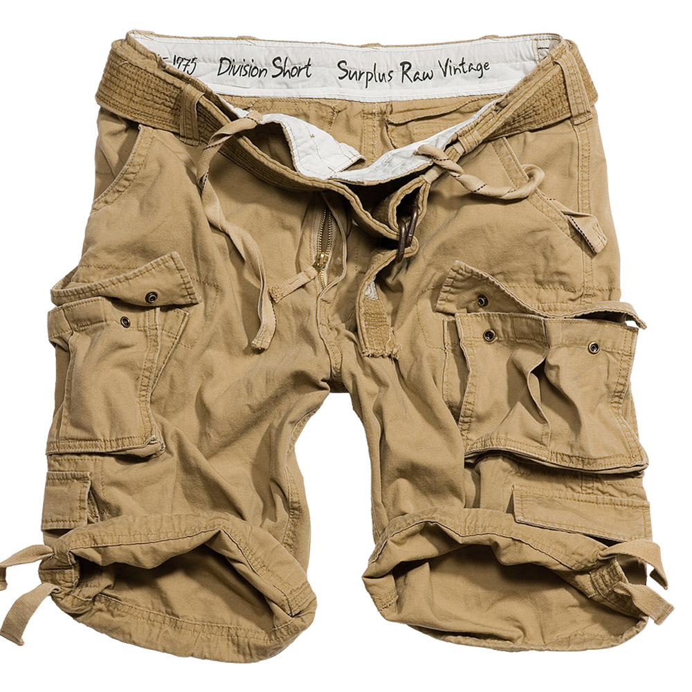 SURPLUS DIVISION MENS COMBAT ARMY CARGO HEAVY DUTY WORK SHORTS + BELT COYOTE TAN