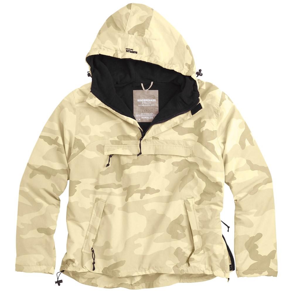 Surplus Windbreaker Mens Hooded Jacket with Fleece Polar Desert Storm Camo S-XXL