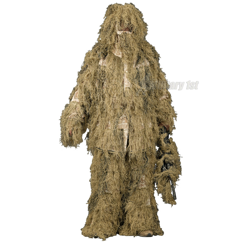 HELIKON GHILLIE YOWIE SUIT 4 PCS SET AIRSOFT HUNTING DIGITAL DESERT CAMOUFLAGE