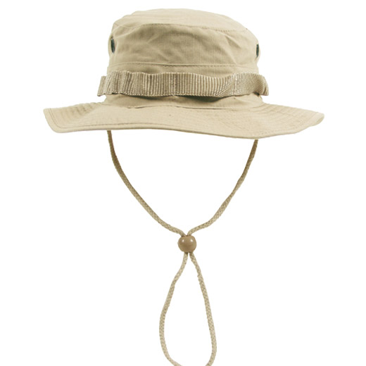 ARMY COMBAT GI BOONIE HAT HIKING FISHING BUSH CAP 100% COTTON RIPSTOP KHAKI S-XL