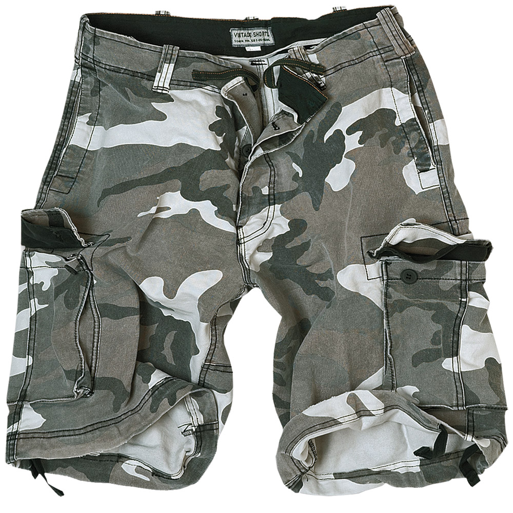 SURPLUS MILITARY STYLE COMBAT VINTAGE CARGO MENS SHORTS WASHED COTTON URBAN CAMO