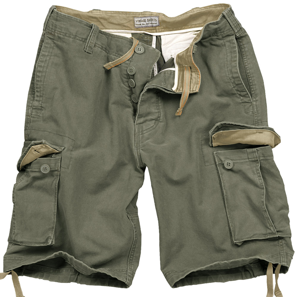Surplus Army Style Mens Combat Vintage Cargo Shorts Washed Cotton ...