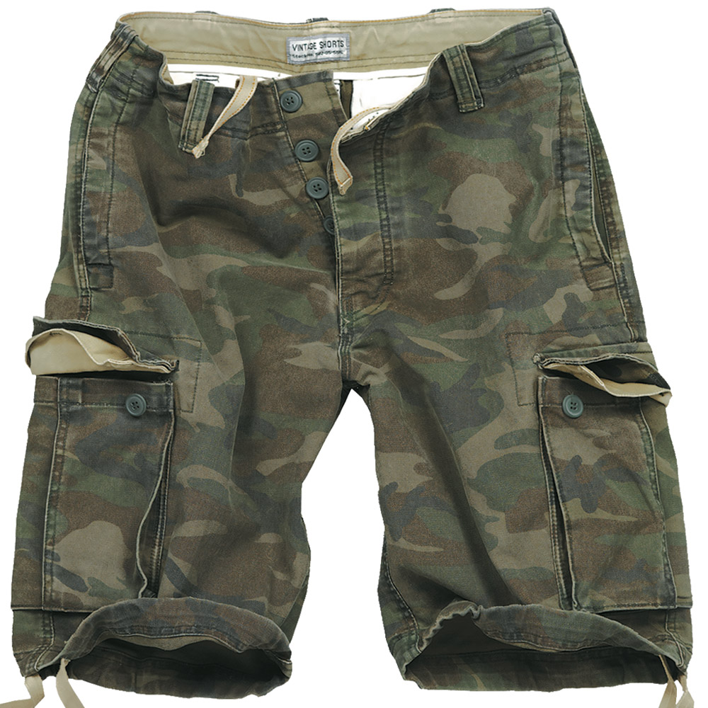SURPLUS VINTAGE MENS CARGO COMBAT SHORTS ARMY STYLE WASHED COTTON WOODLAND CAMO