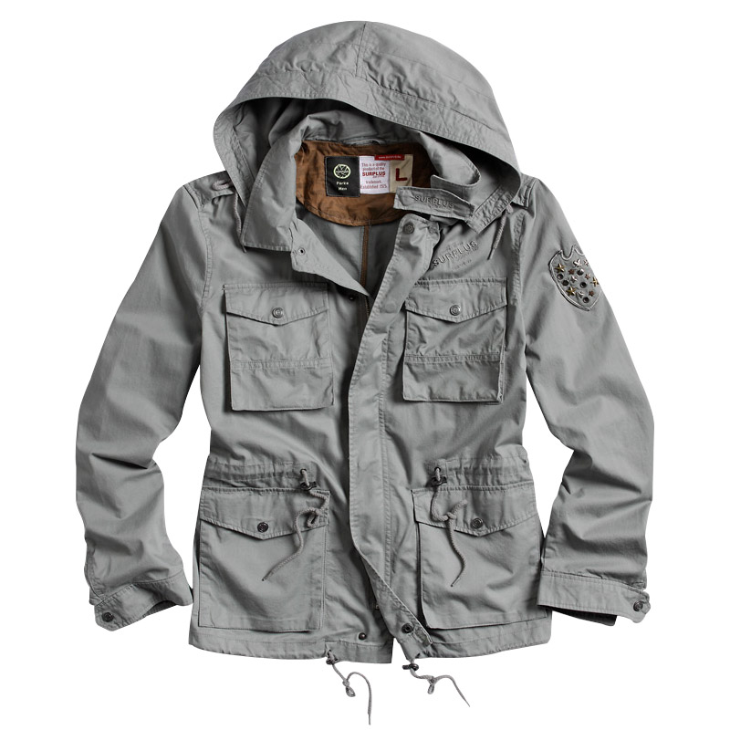 Surplus Military Style Parka Mens Combat Jacket with Hood Cotton ...