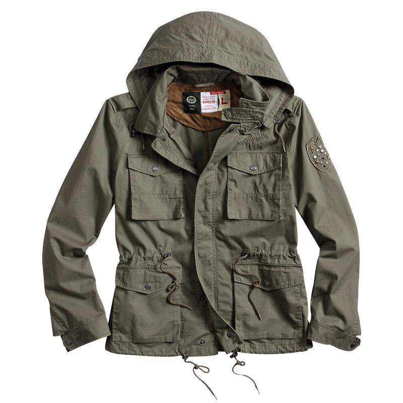 Surplus Army Jacket Military Style Coat Mens Hooded Parka Cotton ...