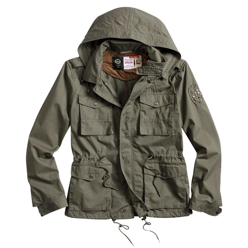 Surplus Army Jacket Military Style Coat Mens Hooded Parka Cotton Olive Od S Xxl Ebay