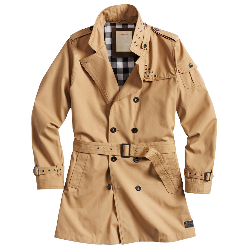 SURPLUS-CLASSIC-MILITARY-STYLE-MENS-TRENCH-COAT-COTTON-WATER-REPELLENT-BROWN-TAN