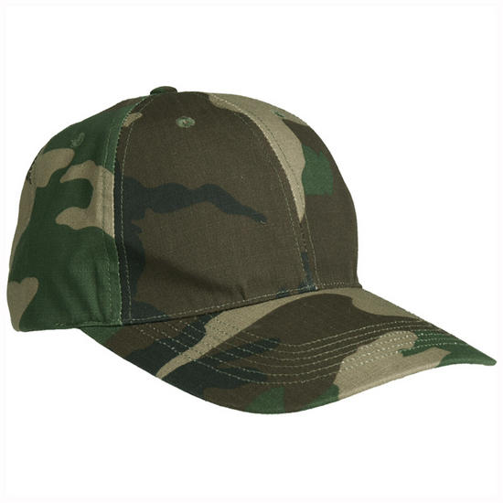 Mil-Tec Baseball Cap with Metal Buckle Ripstop Woodland