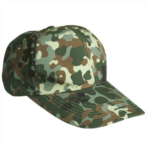 Mil-Tec Baseball Cap with Metal Buckle Ripstop Flecktarn