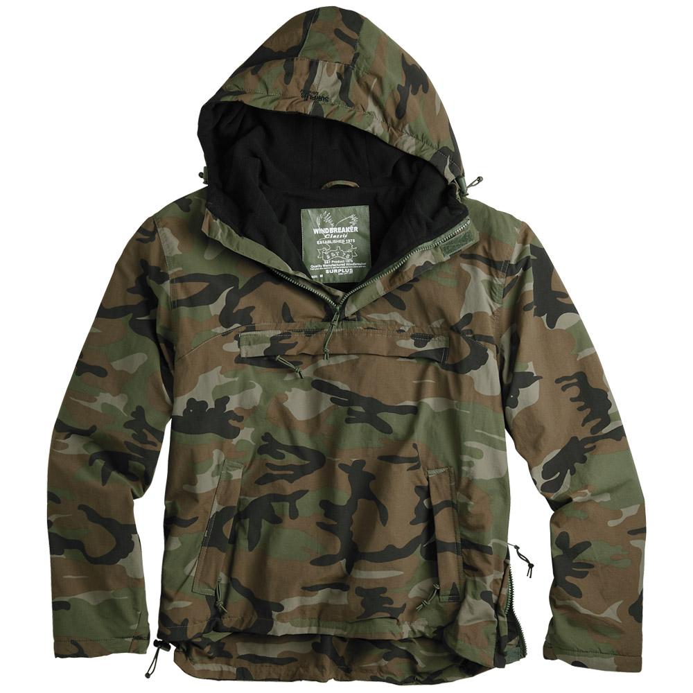 surplus windbreaker hooded mens jacket water repellent with fleece woodland camo. Black Bedroom Furniture Sets. Home Design Ideas