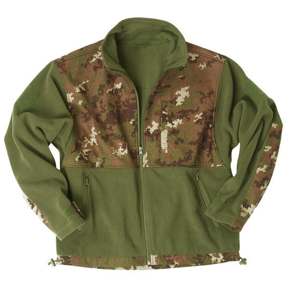 Mil-Tec Fleece Jacket with Ripstop Patch Vegetato Woodland