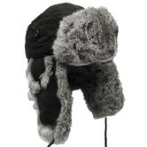 MFH Winter Cap Black with Grey Rabbit Fur