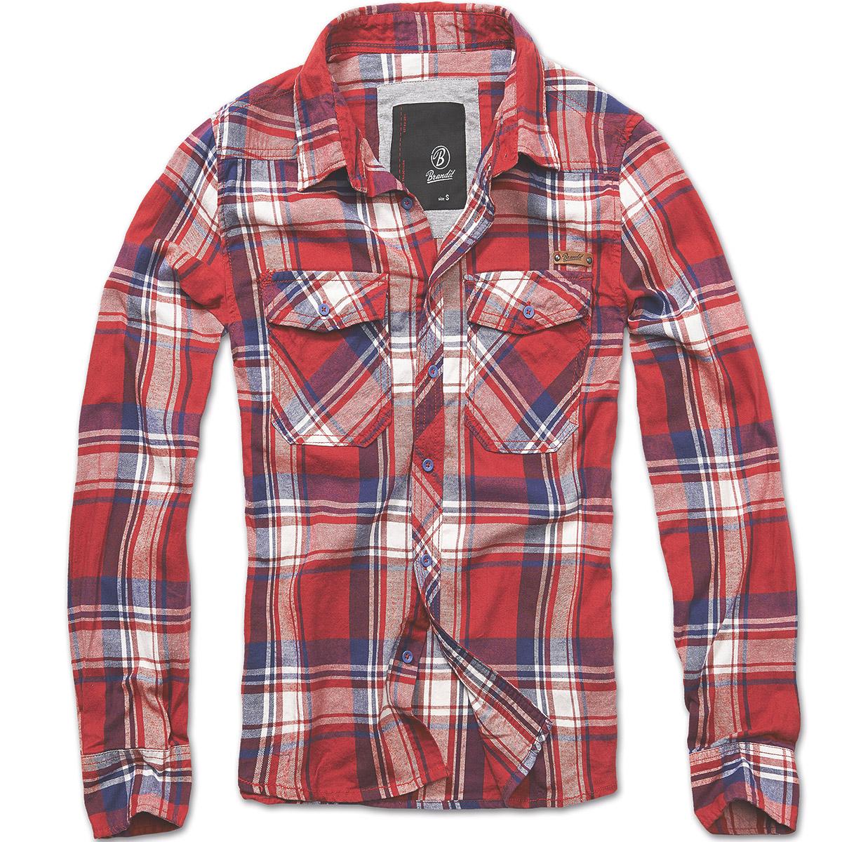 Brandit vintage style check cotton flannel shirt mens long for Best flannel shirt brands