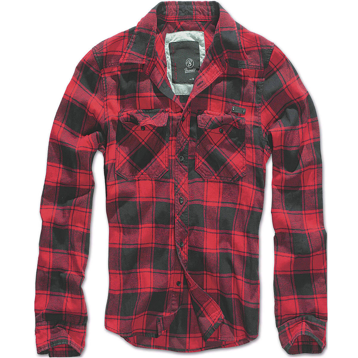 Brandit Mens Casual Check Cotton Flannel Shirt Long Sleeve