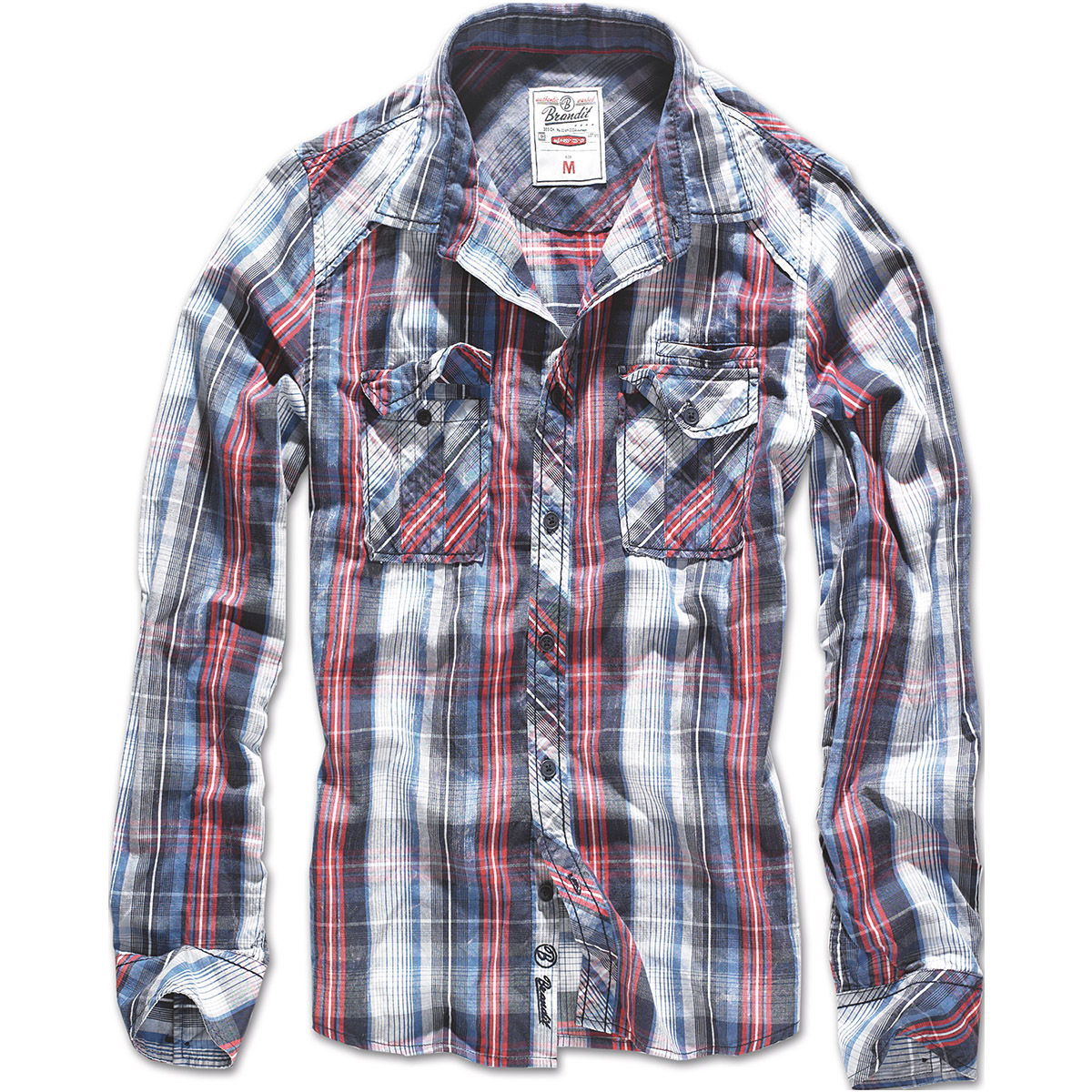 Brandit central city check shirt vintage mens long sleeve for White flannel shirt mens