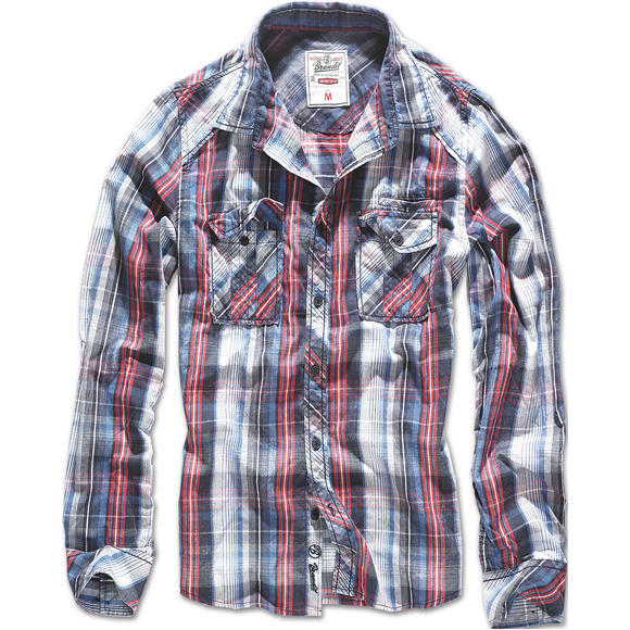 Brandit Central City Check Shirt Navy / White