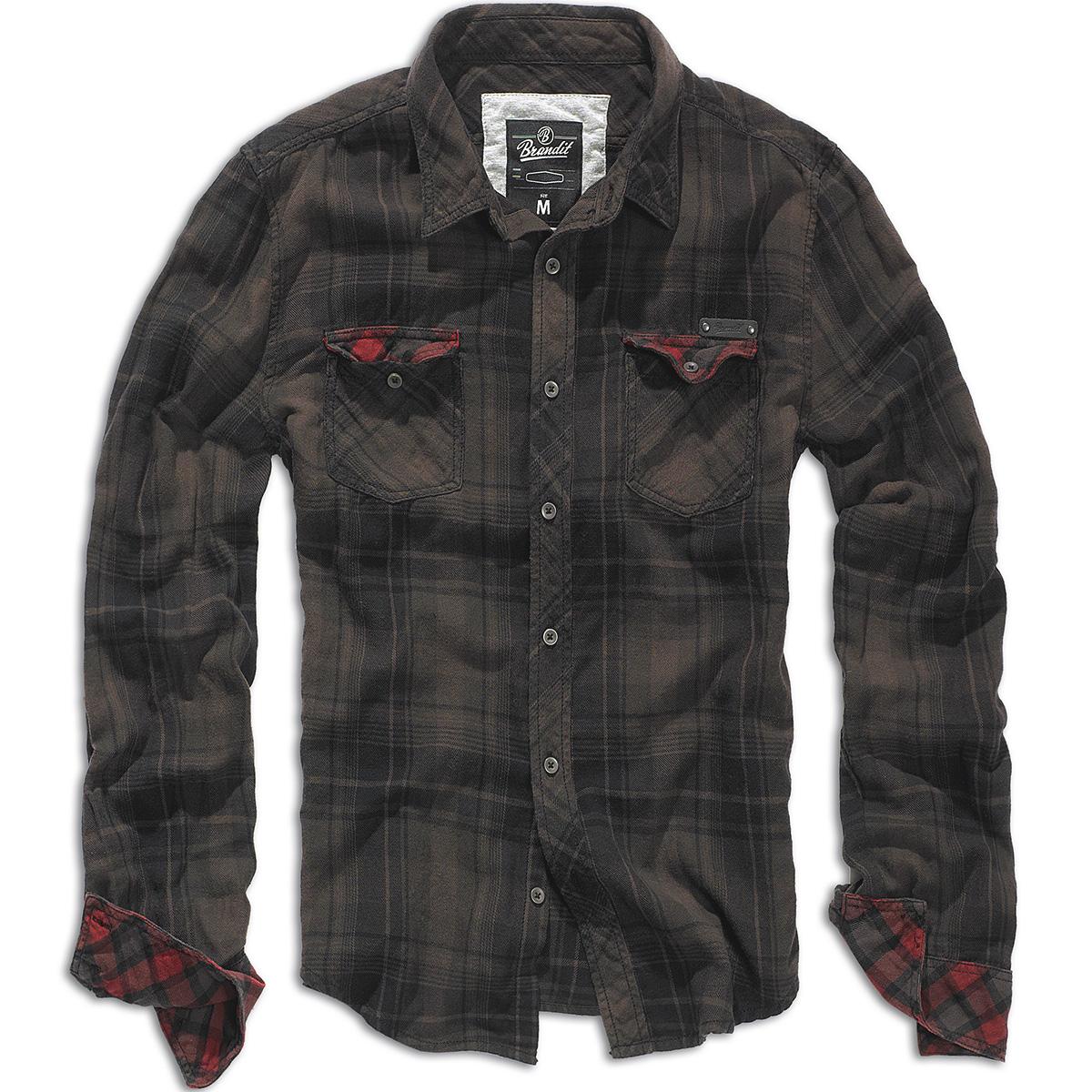 Brandit Duncan Vintage Mens Cotton Flannel Long Sleeve Check Shirt ...