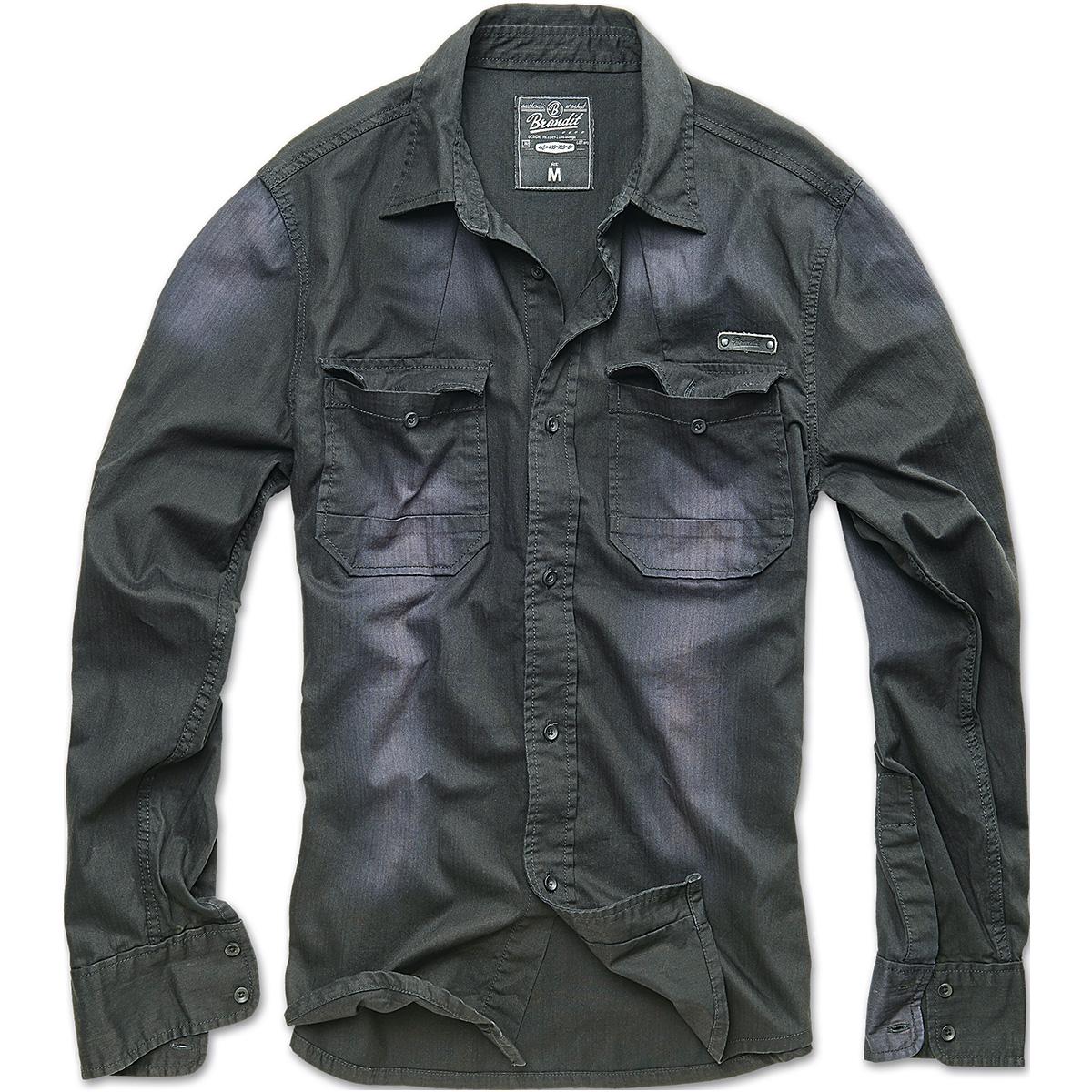 Brandit Mens Hardee Denim Shirt Long Sleeve Cotton Security ...