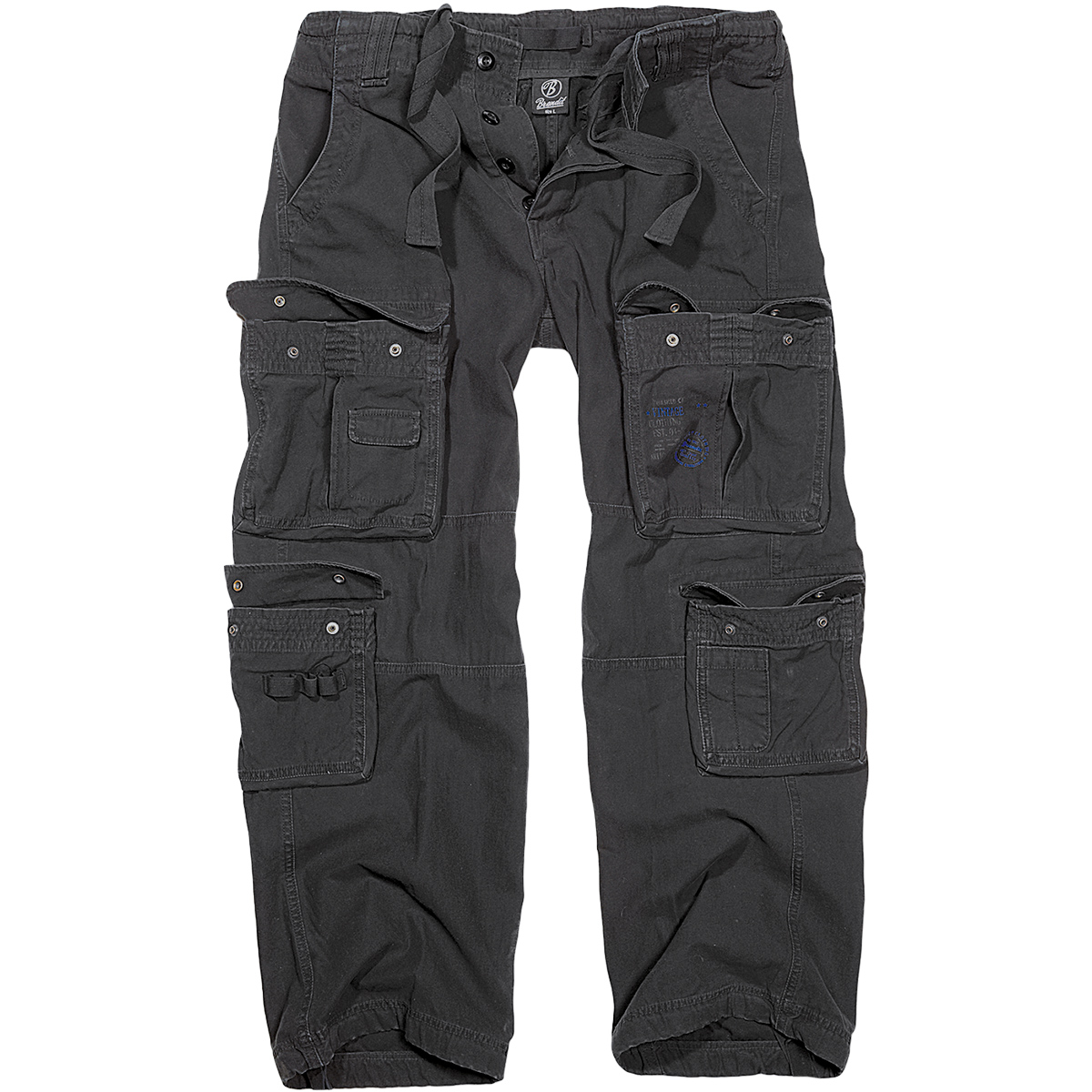 BRANDIT MENS PURE VINTAGE POLICE COMBAT TROUSERS SECURITY WORK CARGO PANTS BLACK