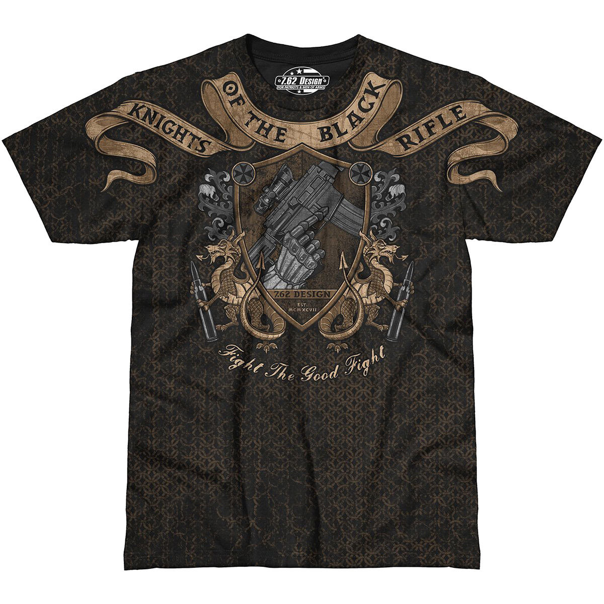 Design mens knights of the black rifle t shirt for Army design shirts online