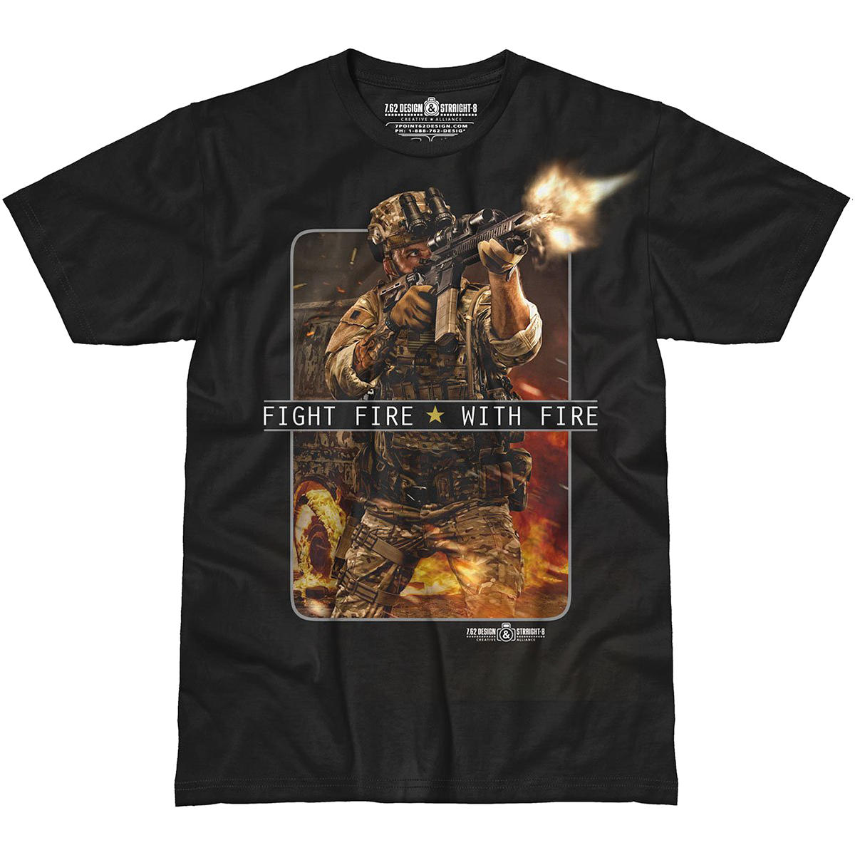 design fight fire with fire t shirt black